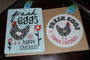 Two chicken signs