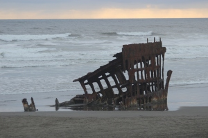 Ship wreck light sunset