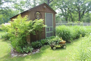 Pool shack with wagon of herbs in front