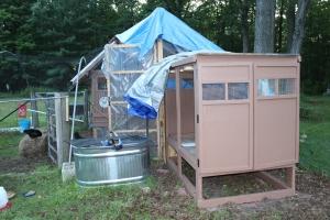 Doors on coop tarps and tank water