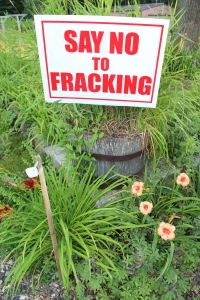 fracking sign in whisket barrle close