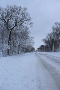 109th roadway under snow