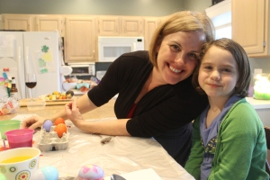 Erin and Chase doing Easter eggs